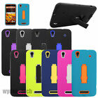 For ZTE Impact Kickstand Hybrid Hard Silicone Case Double Layer Phone Covers