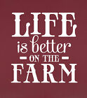 Life Is Better On The Farm Wall Decal Inspirational Quote NEW 23x23