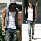 New Mens Casual Slim Fit Hoodie Jacket Top Sleeveless Beach Sport T shirt Vest Q