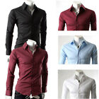 Muscle Mans Long Sleeve Collar Formal/Casual Evening Party Slim Fit Dress Shirts