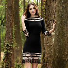 Fashion Ladies Dresses 3/4 Sleeve Slim Fit Tunic Ball Gown Evening Party Dress