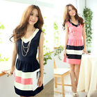 Hot Sell Womens Striped Hit Color Casual Short Mini Cocktail Evening Party Dress