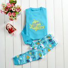 Children's Boys Girls Long Sleeve fish Pajama Sleepwear Outfits Tops + Trousers