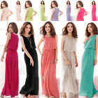 Ladies Chiffon Maxi Dress Size 6-16 Summer Long Skirt Evening Cocktail Party TOP