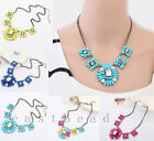Womens Clear Crystal Resin Flower Collar Statement Necklace Fashion Jewelry