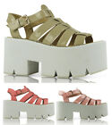 LADIES WOMENS CLEATED SOLE HIGH HEEL CHUNKY PLATFORM SANDALS SHOES