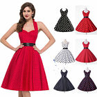 UK Audrey Hepburn Style 50s 60s Vintage Rockabilly Party Swing Pinup Prom Dress