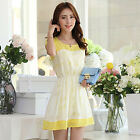 Womens Lovely Crew Neck Chiffon Dress Double Layer Celeb Party Mini Dresses Hot