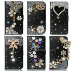 Black Bling Diamond Flip Wallet Leather Case Cover For Apple iPhone 4 4S