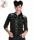 HELL BUNNY LOCKED HEART rockabilly SHIRT TOP BLACK