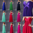 Princess Sexy Strapless Long Formal Ball Gown Bridesmaid Evening Party Dress UK