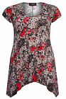 Yoursclothing Womens Plus Size Multi Blurred Floral Print Jersey Top With Hanky