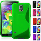 S-Line Wave TPU Gel Silicone Soft Case Cover For Samsung Galaxy S5 i9600 G900 UK
