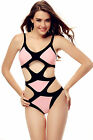 One Piece 3050 Black Pink Colorblock Multi Cut Out Bandage Monokini Swimsuit