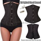 28 STEEL Boned Black Underbust Corset Waist Training Plus Size S-6XL Basque Top