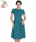 HELL BUNNY 40s MADDEN wartime POLKA DOT TEA DRESS landgirl TEAL