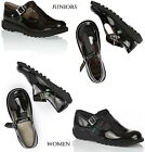 Kickers Kick T Bar Black Patent Buckle Sandals School Shoes Juniors Girls Womens