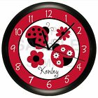 Ladybug Wall Clock Nursery Bedding Personalized Lady Bug Girls Bedroom Black Red