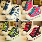 Autumn Spring Child Girls Kids Baby Boy Mixed Colors Shoeslace High Canvas Shoes