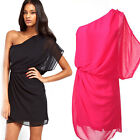 Fashion Women Chiffon One shoulder Cocktail Party Evening Prom Mini Dress S-XL