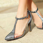 Women Stilettos Leather High Heels Party Shoes Ankle Straps Sandals Pointed Toes