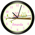 OWL NURSERY WALL CLOCK PERSONALIZED GIFT WALL DECOR PINK GREEN BEDROOM BABY BIRD