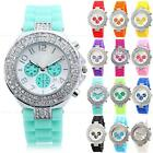 Geneva Ladies Women Bling Crystal  Jelly Silicone Rubber Quartz Wrist Watch