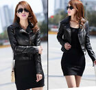 Fashion Retro Motorcycle Soft Leather Jacket Short Casual Slim Fit Zipper Coat