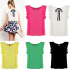 Sweet Cute O-Neck Ruffled Sleeves Chiffon Shirt Bow Tie Back Blouse Tops New
