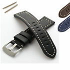 Mens Genuine Leather Watch Strap/Band - Brushed Steel Buckle - Free Spring Bars