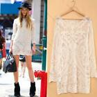 2014 Fashion Women Sexy Lace Crochet Casual Long Sleeve Mini Party Short Dress