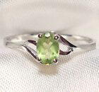 Genuine Faceted Oval Green Peridot .925 Sterling Silver Ring -- PD869