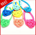 Exquisite Weave Hemp flowers fluorescence color Chinese knot Bib necklace 22hue