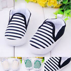 Toddler Kids Baby Boys Girls Striped Anti-Slip Sneakers Soft Bottom Shoes New