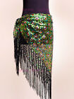 Belly Dance Peacock Hip Scarf Belt Sequins Tribal Fringe Triangle Shawl 4 colors