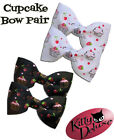 Cupcake Bow Pairs by Kitty Deluxe EMO Punk Goth Burlesque Rockabilly