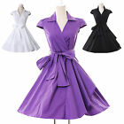 ❤Free Ship❤Housewife Vintage 40s 50s Rockabilly Swing EVENING PROM OL Work Dress