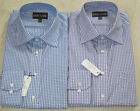 EX STORE 100% COTTON VULLIAMY  BLUE LILAC CHECK SLIM FIT OFFICE SHIRTS 15- 17.5