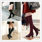 Womens Stylish Slim Fit Pull On Block Mid Heel Over The Knee Boots Plus Size