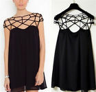 New Sexy Womens Hollow Grid Cut out Casual Chiffon Semi Sheer Mini Dress Black