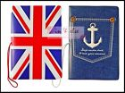 Leather Travel Passport Holder Cover Case w/ Elastic Band - UK Flag, Anchor