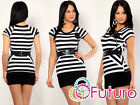 Women's Striped Mini Dress Bodycon Short Sleeve Tunic Top Sizes 8-12 FC127