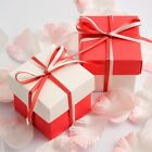 CORAL AND OFF WHITE SQUARE BOX AND LID WEDDING FAVOUR BOXES - CHOOSE QUANTITY