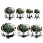 """Pair 6g-9/16"""" Celtic Compass Stainless Steel Ear Tunnel Screw Plugs Earlets Punk"""