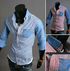 2014 New Fashion Men's Striped Long Sleeve Casual Slim Fit Stylish Dress Shirts
