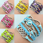 Fashion Multilayer Braided DIY Infinity  Love Tower Charms Bracelets Jewerly