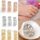 Fashion Womens Good Lucky Hollow Four Leaf Clover Cubic Zirconia Happiness Ring