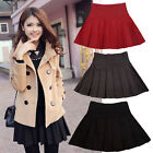 Hot Women's Stretch High Waist Plain Pleated Flared Skater Wool Blend Mini Skirt