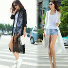 Women Fashion Stitching Lace Cardigan Sweater Sunscreen Skirt Lapel White Coat