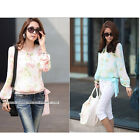 Comfortable Chiffon Like Fronted Top In Mint Blue With Flower Pattern Blouse New